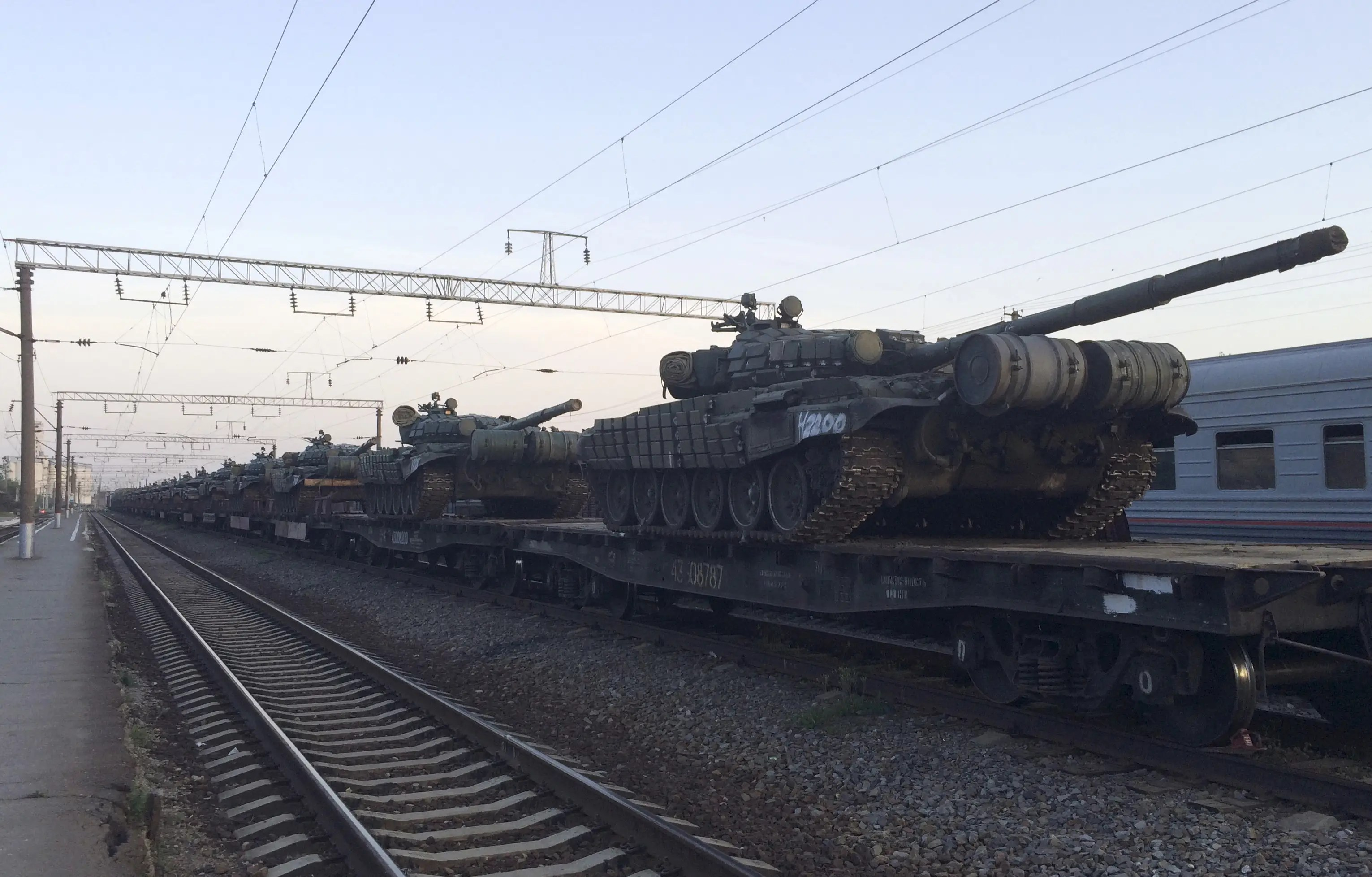 Tanks are seen on a freight train shortly after its arrival at a railway station in the Russian southern town of Matveev Kurgan, near the Russian-Ukrainian border in Rostov region, Russia, May 26, 2015.