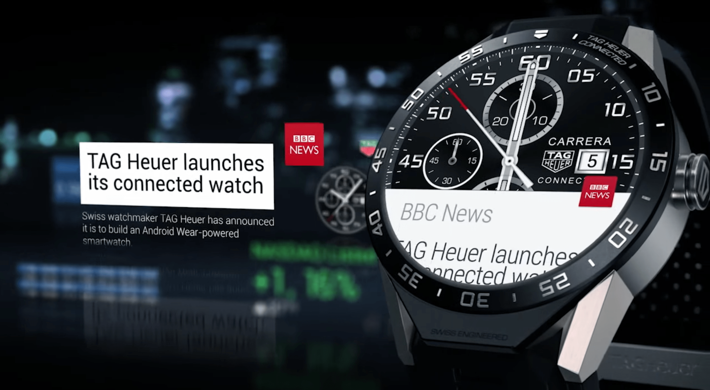 You can even read the news on your Tag Heuer Connected Watch. You can choose to get notifications from, say, BBC News.