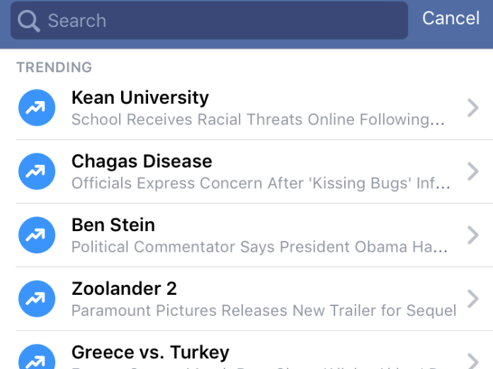 6. Stay on top of the hottest news with what's trending on Facebook.