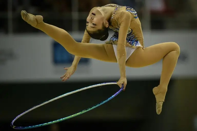 China's Jiahui Liu performs during the individual final of the Rhythmic Gymnastics test event for the Rio 2016 Olympic Games in Rio de Janeiro, Brazil