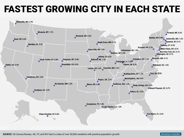 Fastest growing city in every state Business Insider