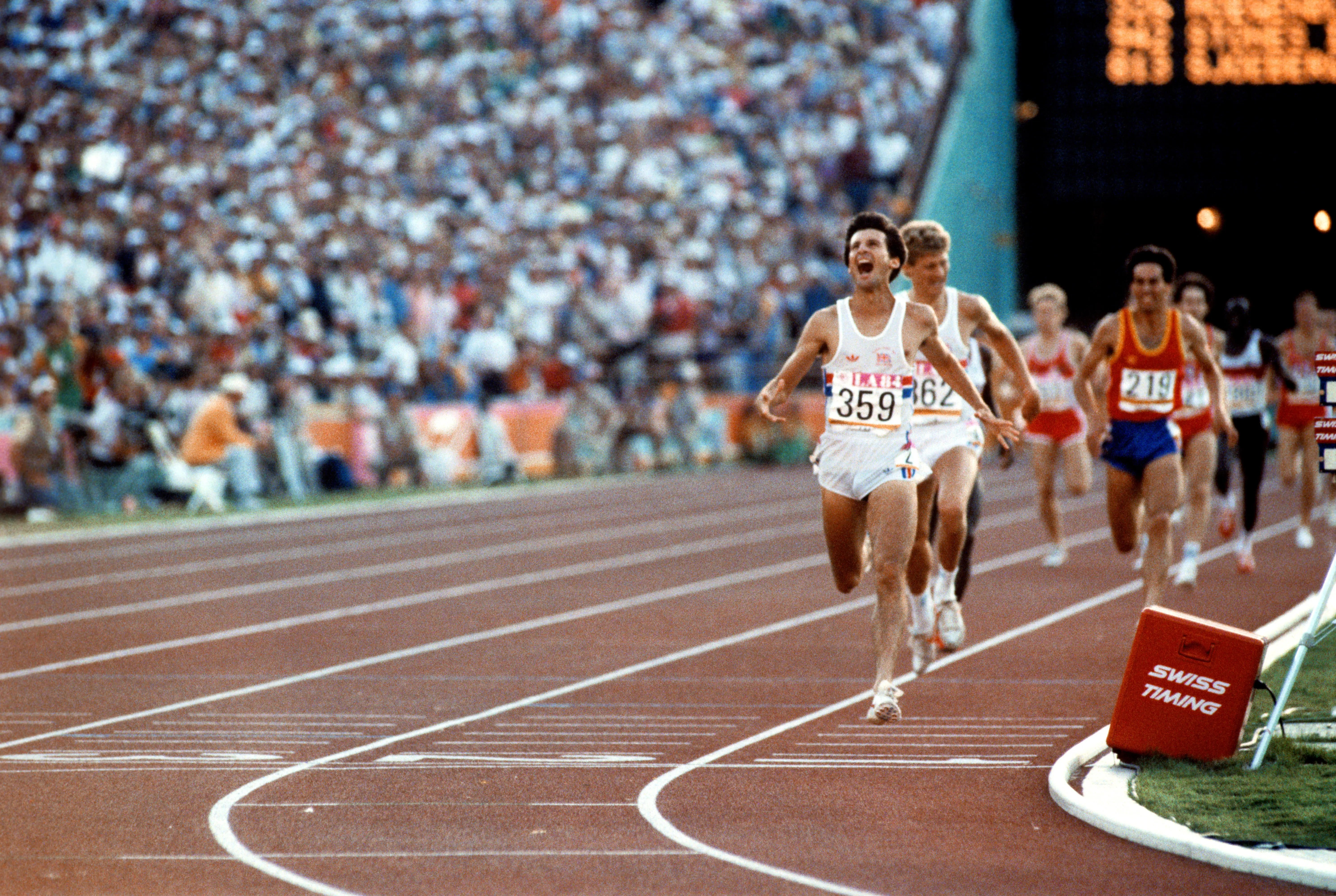 Los Angeles, 1984: Great Britain's Seb Coe celebrates as he crosses the line to win gold in the 1500m from teammate Steve Cram and Spain's Jose Abascal. In response to the US' boycott of Moscow in 1980,14 Eastern Bloc countries and allies of the Soviet Union refused to attend the Los Angeles games in retaliation.