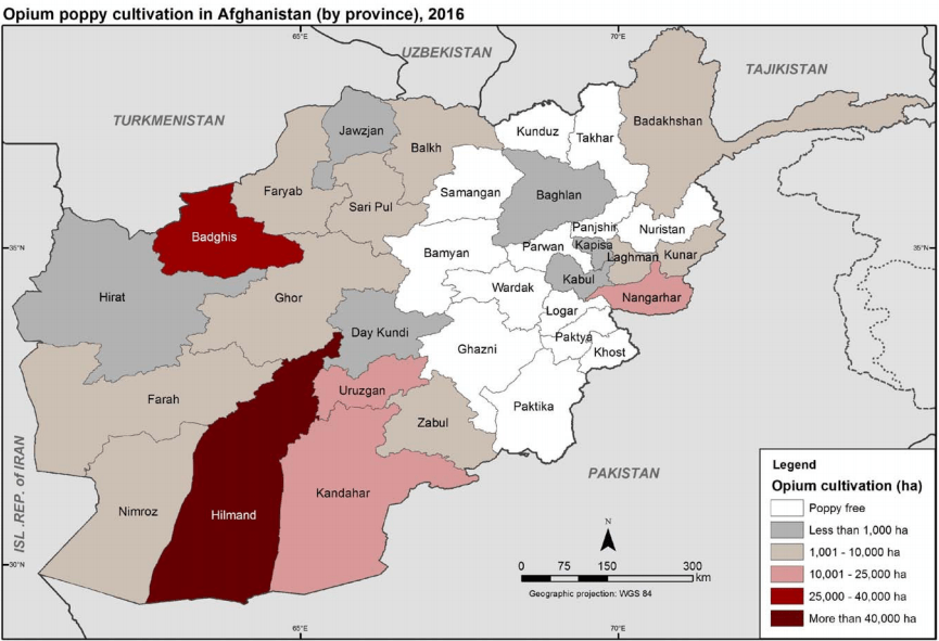 Opium heroin cultivation production map in Afghanistan