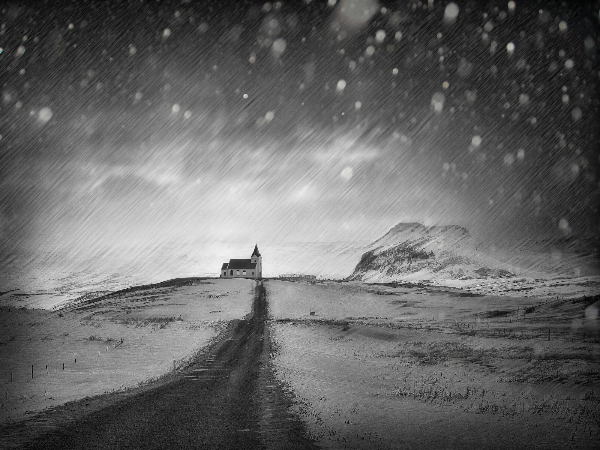 Guy Havell won the black and white image contest with this evocative photo of Ingjaldsholl Church on the Snaefellsnes Peninsula of Iceland.