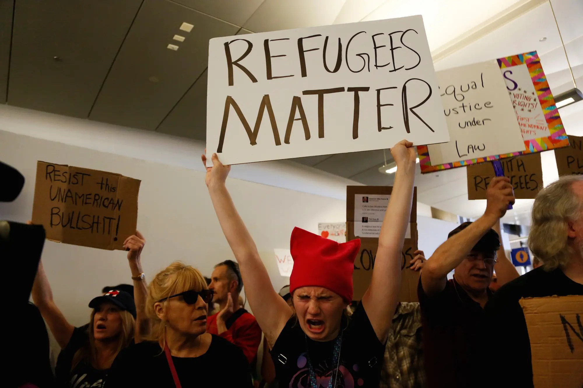 refugees airport protest