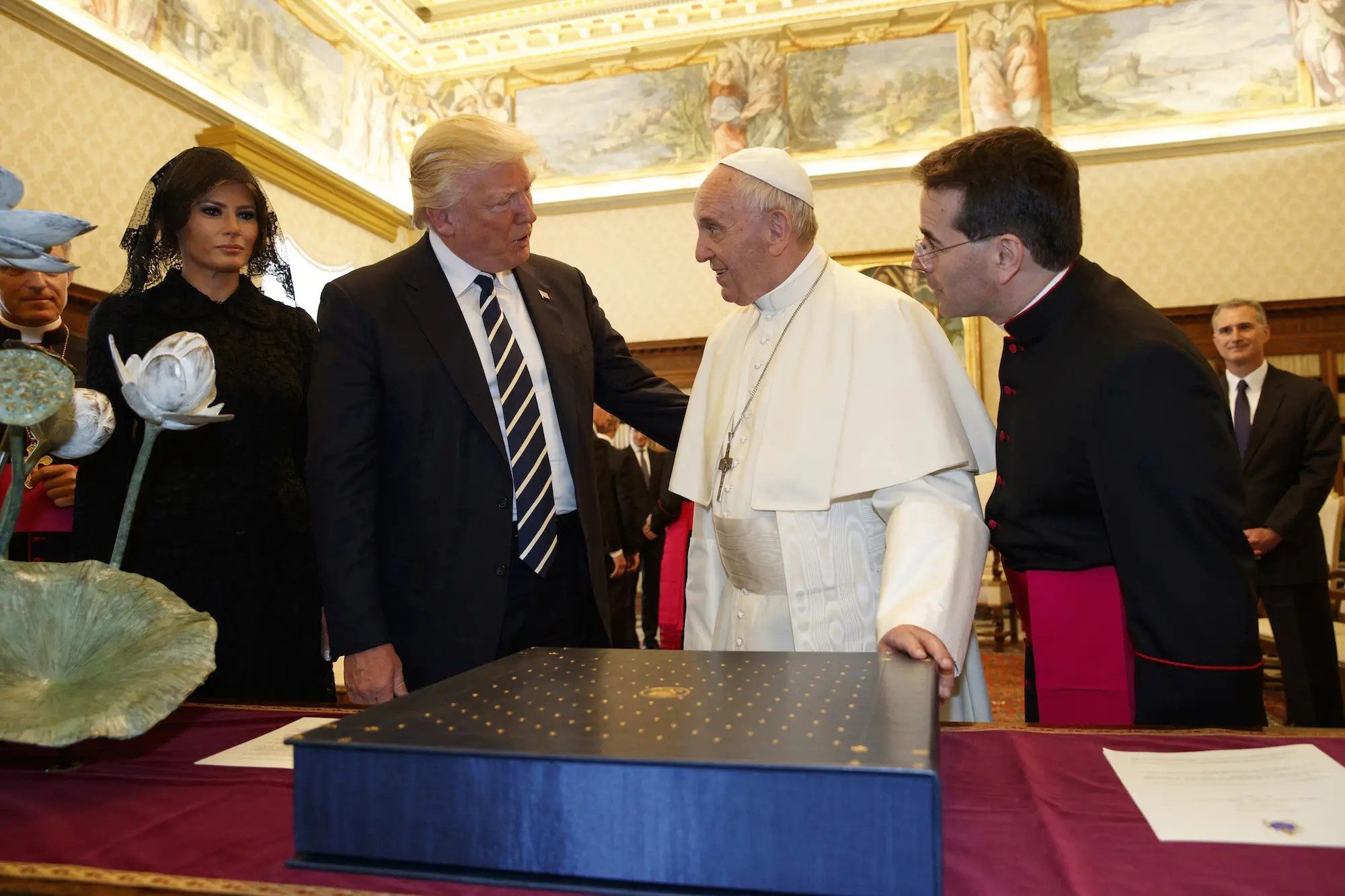 """I signed it personally for you,"" Pope Francis said as he handed Trump the copy of his speech. Trump gave the pope a first-edition set of Martin Luther King Jr.'s writings."