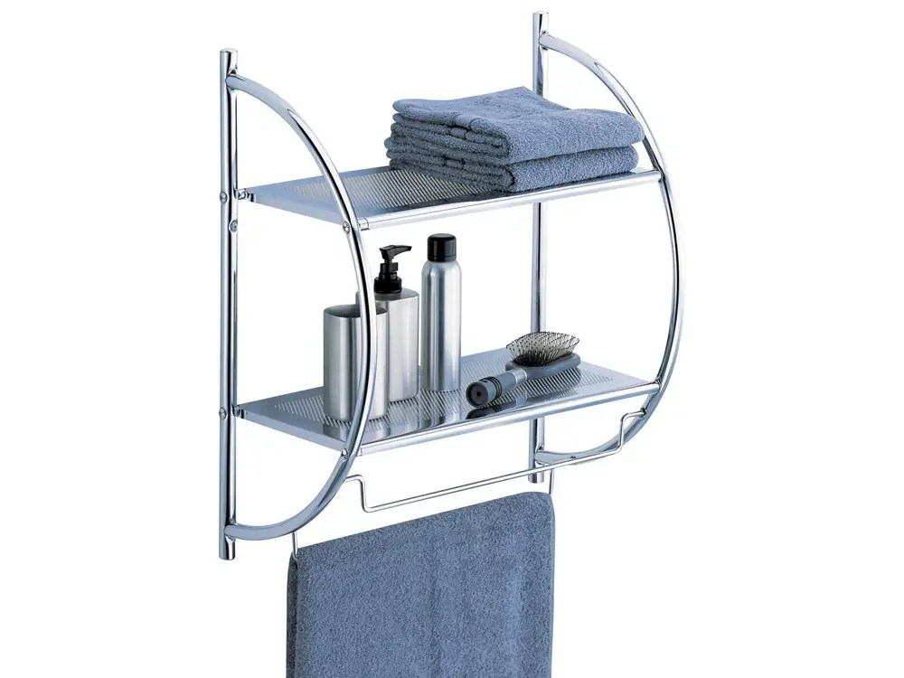 A two-tier shelf with added towel bars.