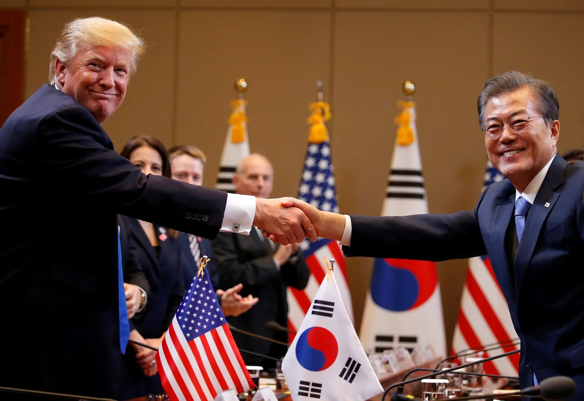Image result for President Donald Trump President Moon Jae-in at the Blue House in Seul, South Korea