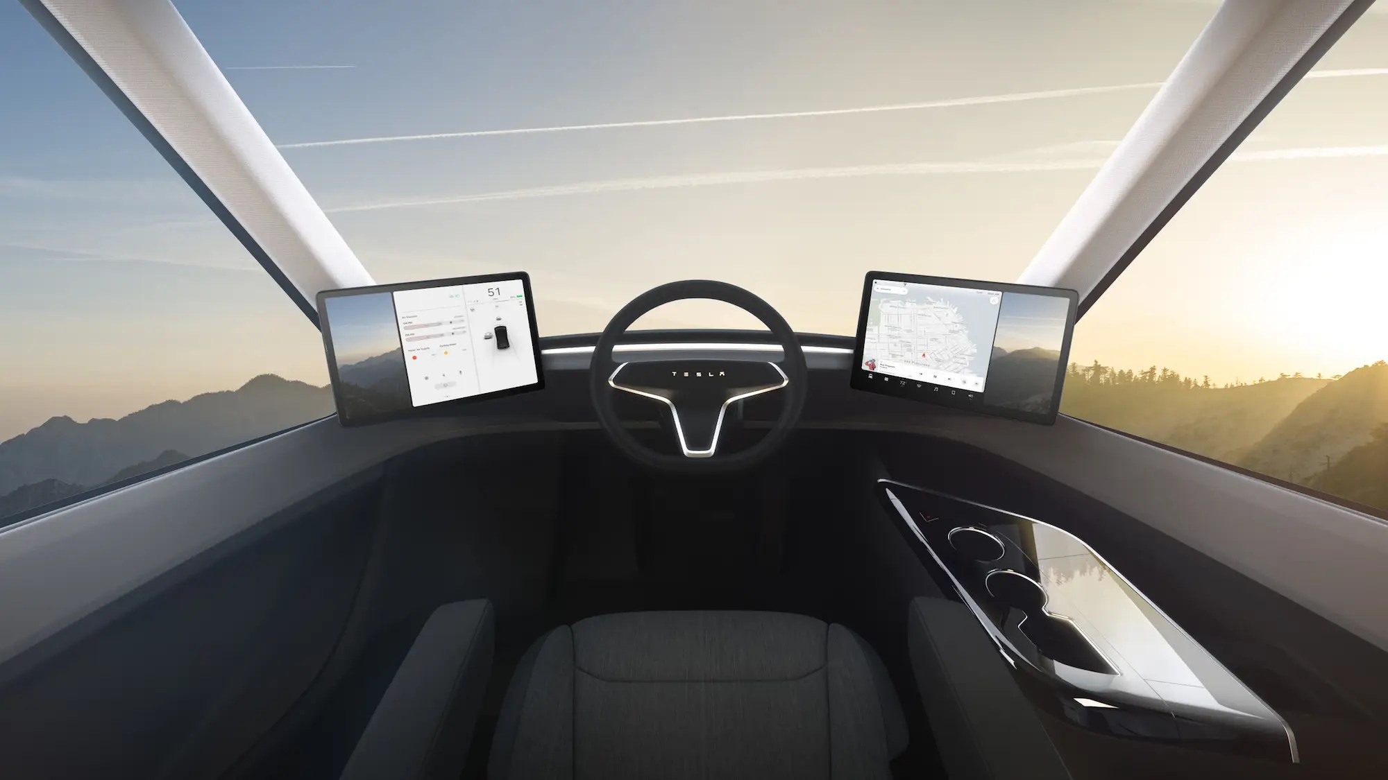 The driver position is placed in the center of the vehicle, instead of on the left side. This helps provide greater visibility to the driver, Musk said.