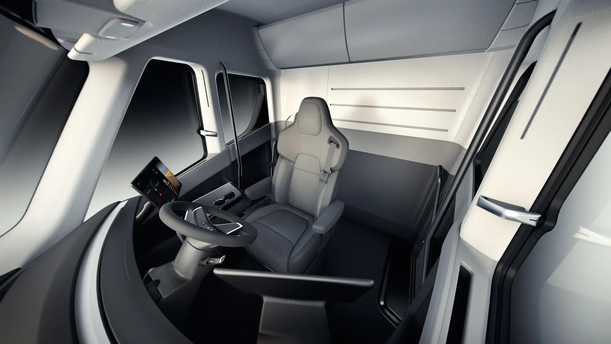 The interior of the vehicle is minimalistic and designed around the comfort of the driver.