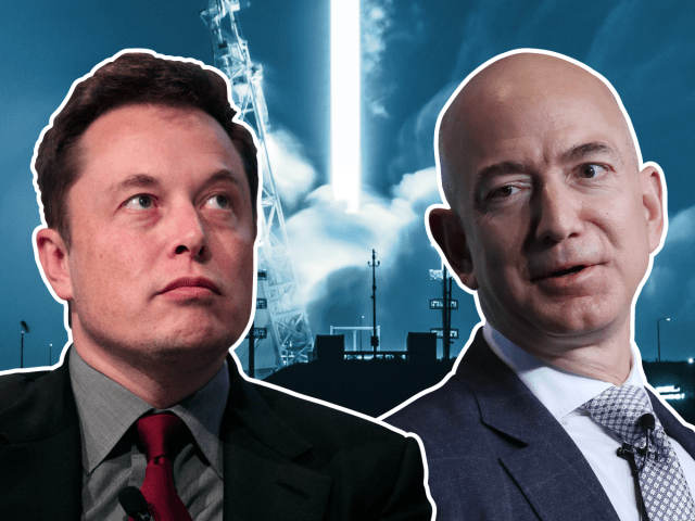 Elon Musk SpaceX versus Jeff Bezos Blue Origin 4x3 BI Graphics