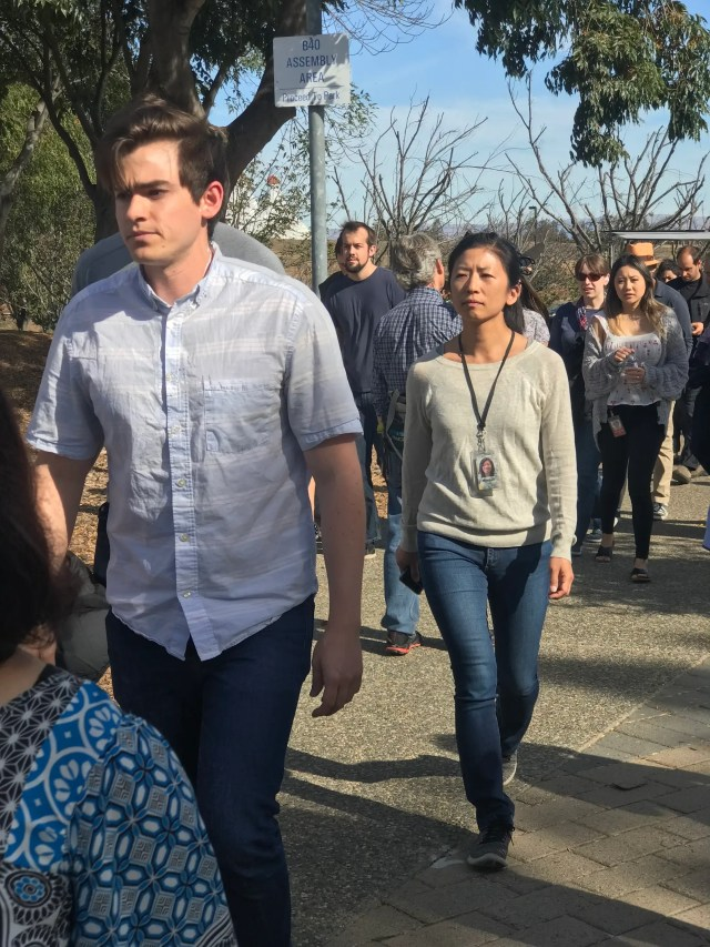 Google employees by the hundreds streamed into the main plaza on its Mountain View, California, campus to take part in the walkout on Thursday, November 1, 2018, over the company's handling of sexual harassment allegations.