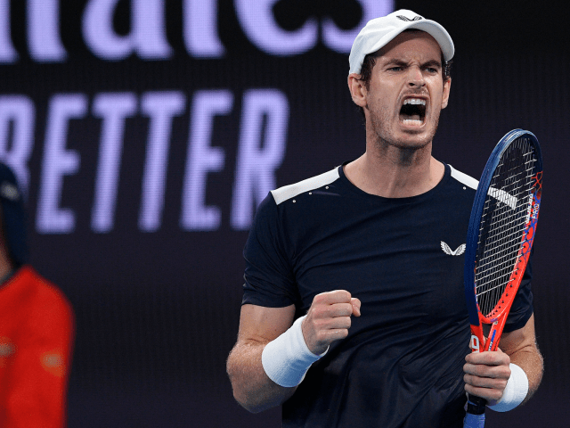 Britain's Andy Murray celebrates a point win over Spain's Roberto Bautista Agut during their first round match at the Australian Open tennis championships in Melbourne, Australia, Monday, Jan. 14, 2019.