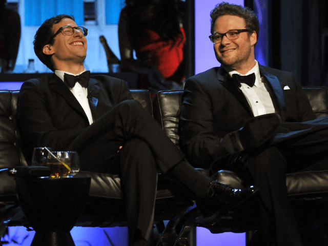 Actors Andy Samberg and Seth Rogen onstage during The Comedy Central Roast Of James Franco at Culver Studios on August 25, 2013 in Culver City, California. The Comedy Central Roast Of James Franco will air on September 2 at 10:00 p.m. ET/PT.