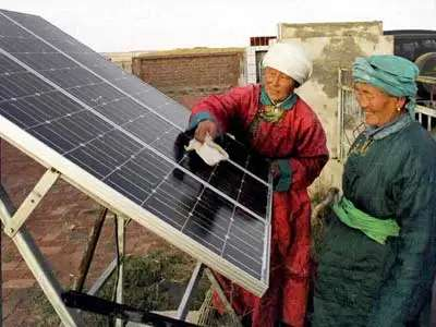 China has over 11 times as much solar cell production capacity per person as the rest of the world.