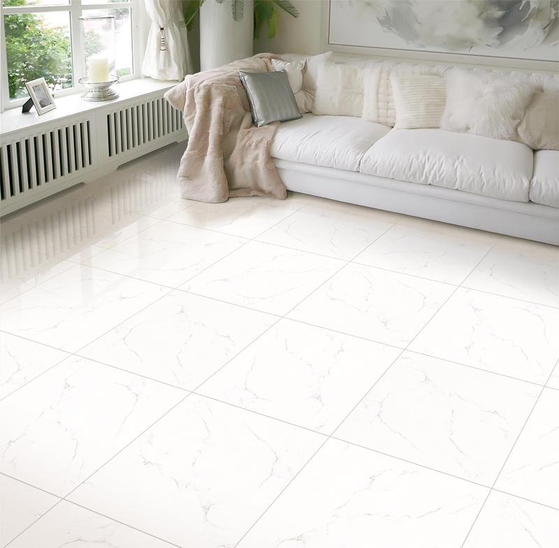 Gạch giả vân đá marble trắng sử dụng lát sàn phòng khách