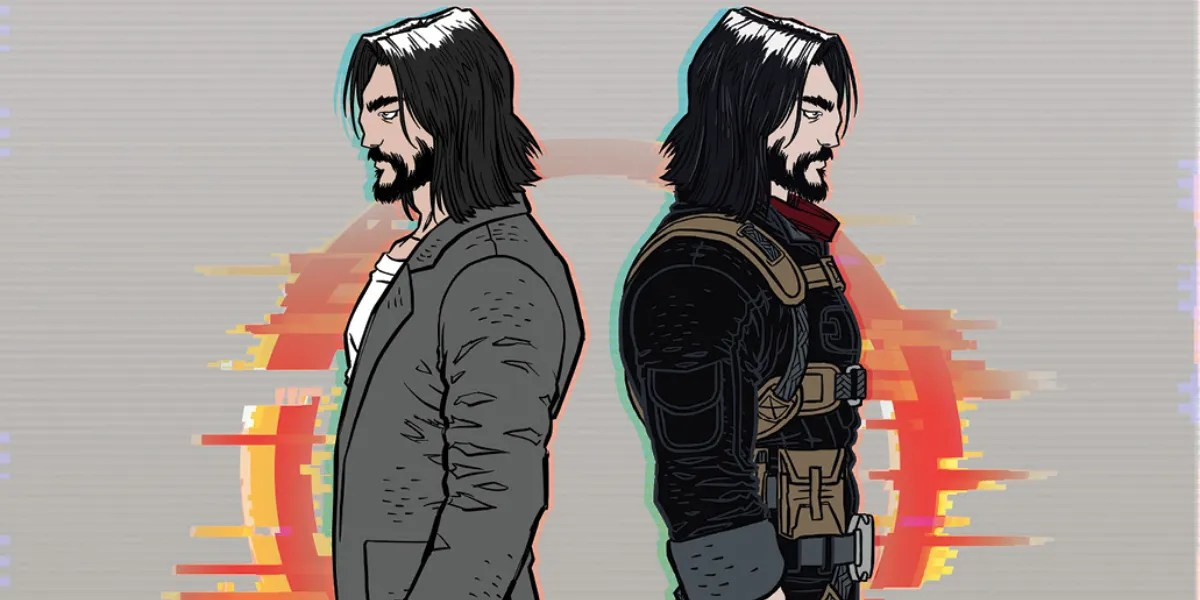 The main character of berserker stands back to back with himself in casual clothes and battle wear.