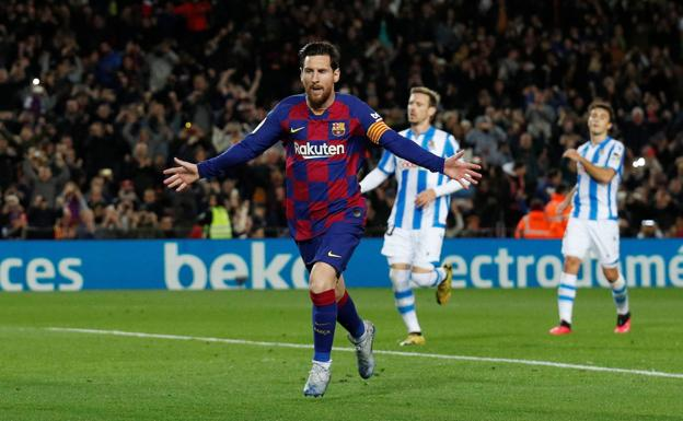 Messi celebrates the goal that gave Barça the victory against Real Sociedad in the last league game played by the Catalans.