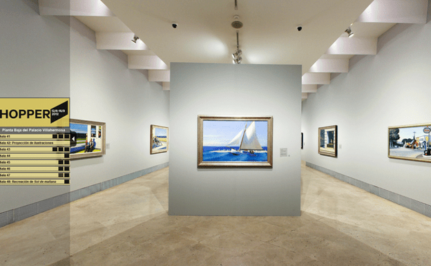 Room of the virtual version of the Edward Hopper exhibition at the Thyssen-Bornemisza National Museum.