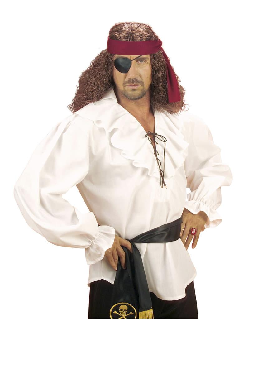Camisa blanca de pirata para hombre Have Fun  Funidelia