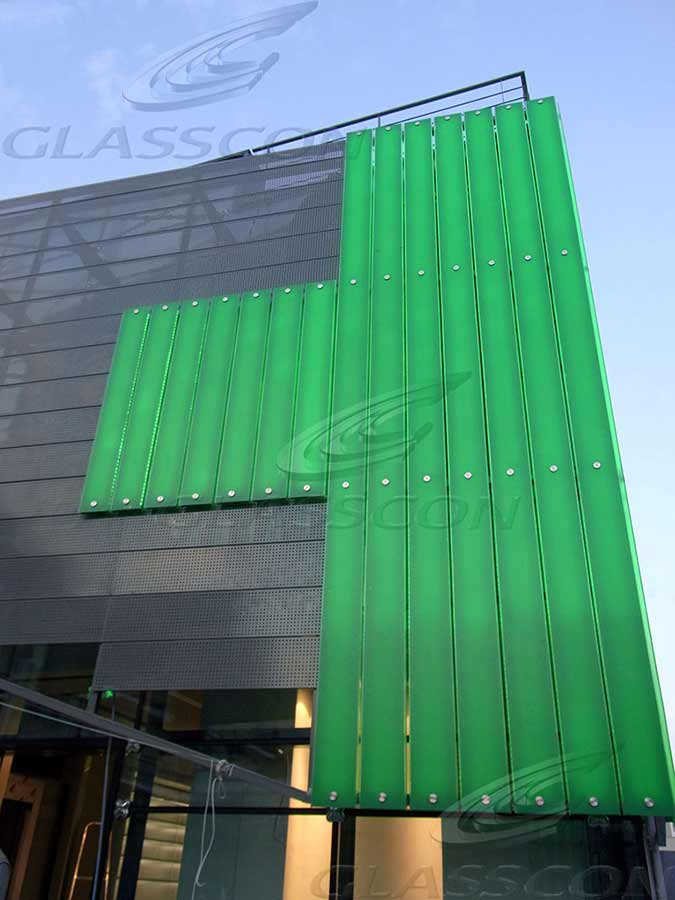 Illuminated Faade UGlass  Perforated Metal Cladding