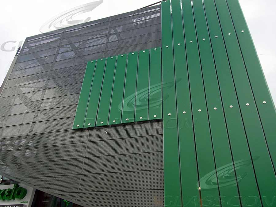 Illuminated Faade UGlass  Perforated Metal Cladding  GLASSCON GmbH  Architectural Building