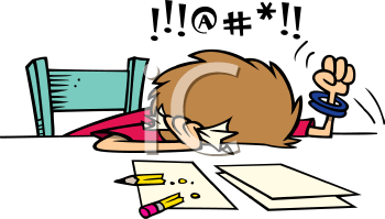 Royalty Free Clipart Image of a Frustrated Person Doing Taxes or Homework