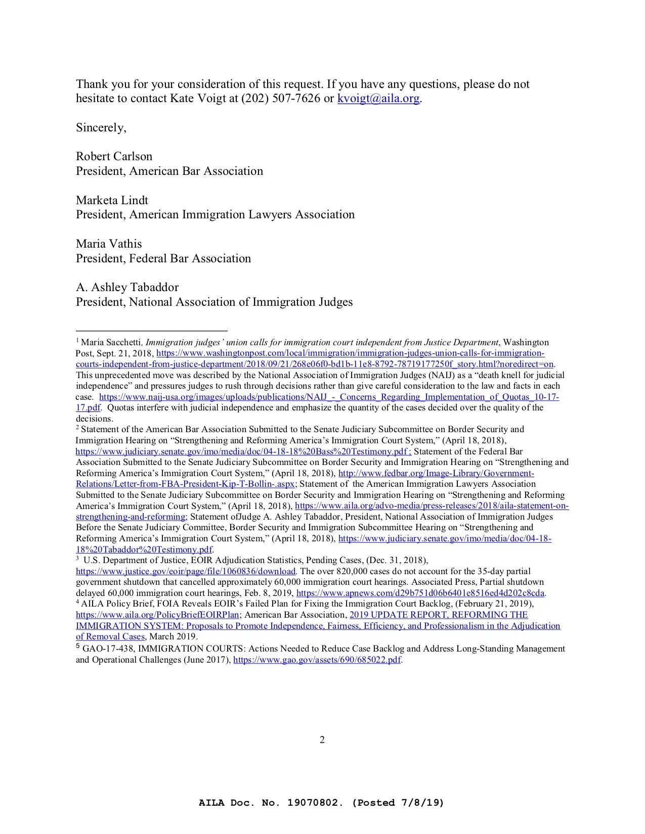 Independent Immigration Court letter pg. 2