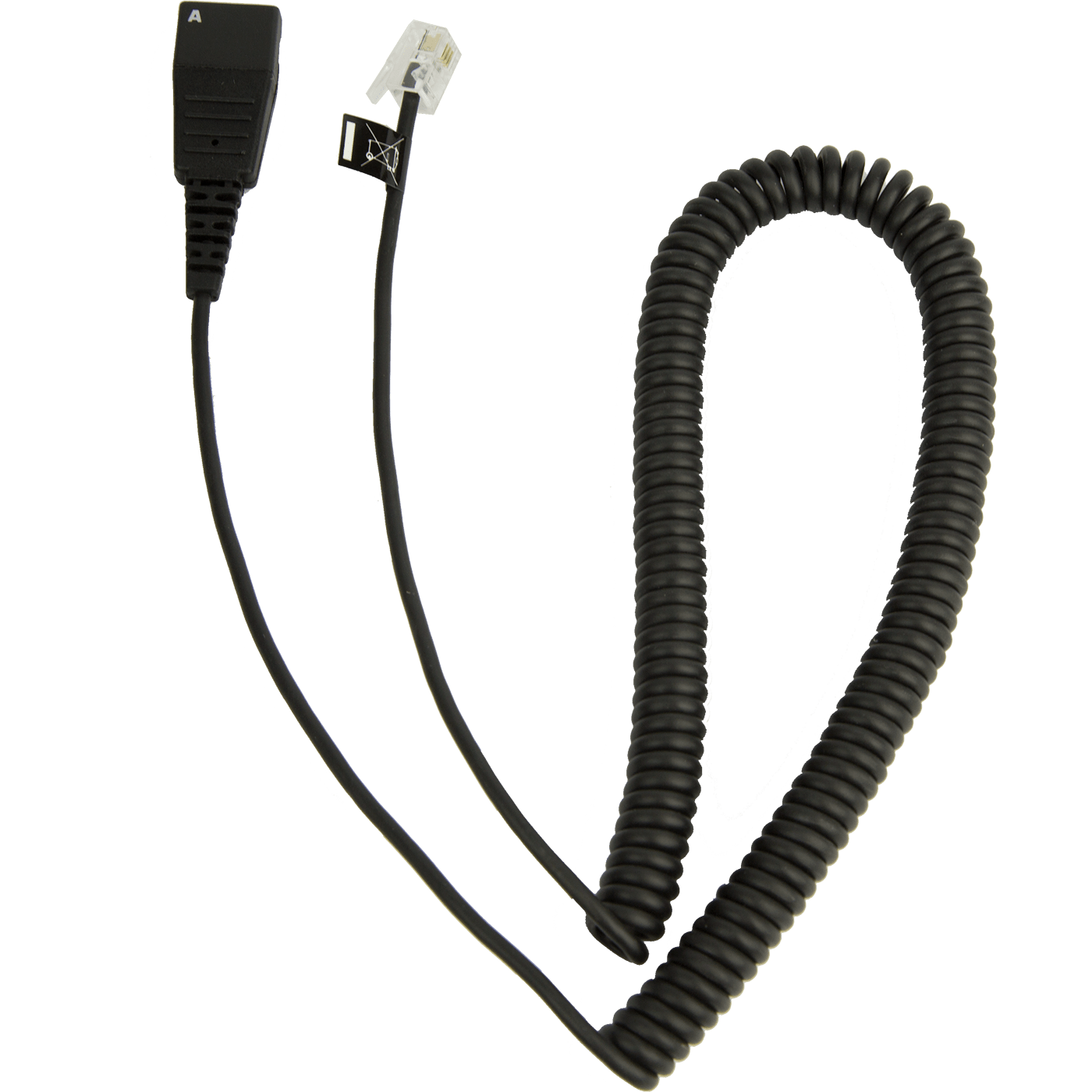 Jabra Quick Disconnect (QD) to Modular (RJ) Coiled Bottom