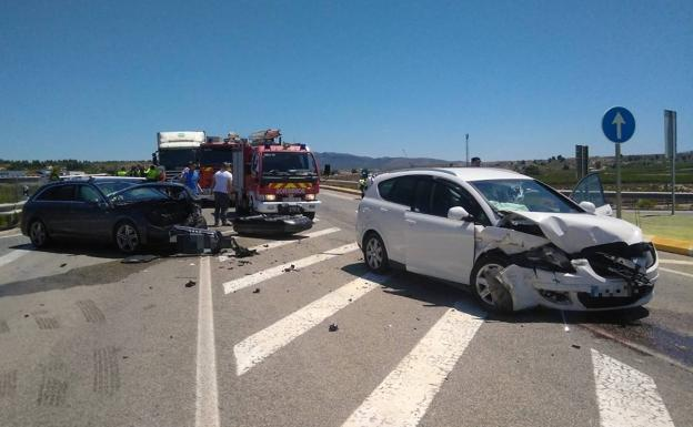 Condition of the vehicles after the collision.