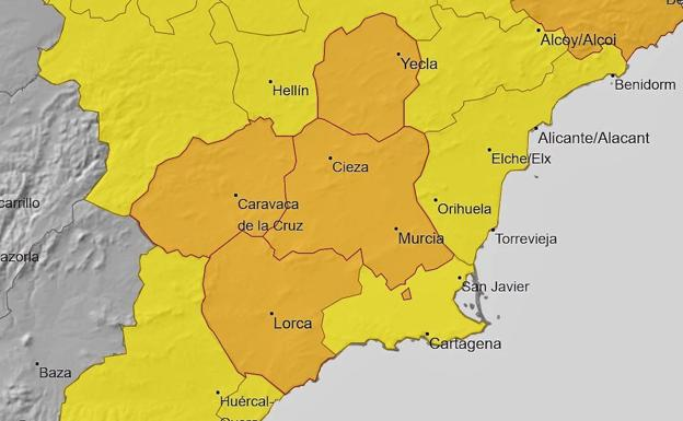 Map with the areas of the Region in orange and yellow alert due to rains and storms.