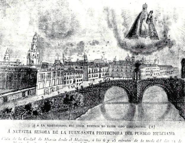 Missing  The Old Bridge, in an engraving after the earthquake of 1829 and where you can see the ancient temples of the archangels built after the first stone laid in August.