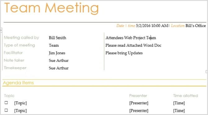 A business meeting agenda is used to communicate important matters that will be discussed in a meeting. 15 Free Meeting Agenda Templates For Microsoft Word
