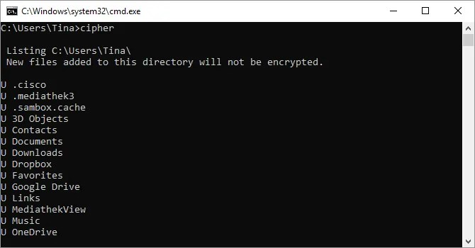 Cipher command in the Windows command prompt.