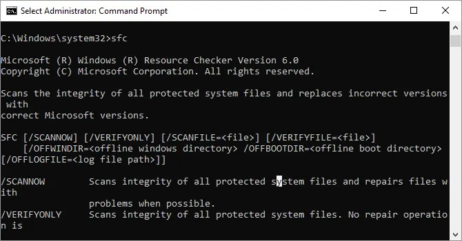 System File Checker sfc command options available on Windows 10.