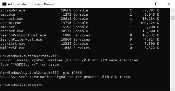 Taskkill command options available on Windows 10.