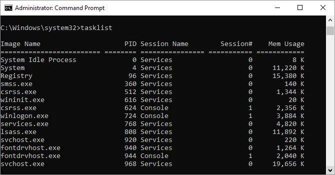 Tasklist command as shown in Windows command prompt window.