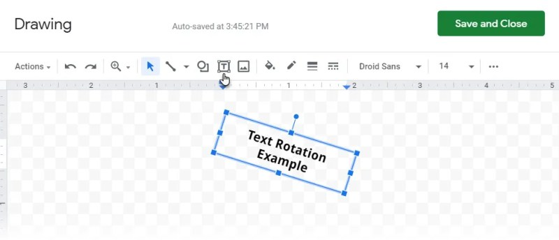 Insérer un dessin pour faire pivoter le texte dans Google Sheets