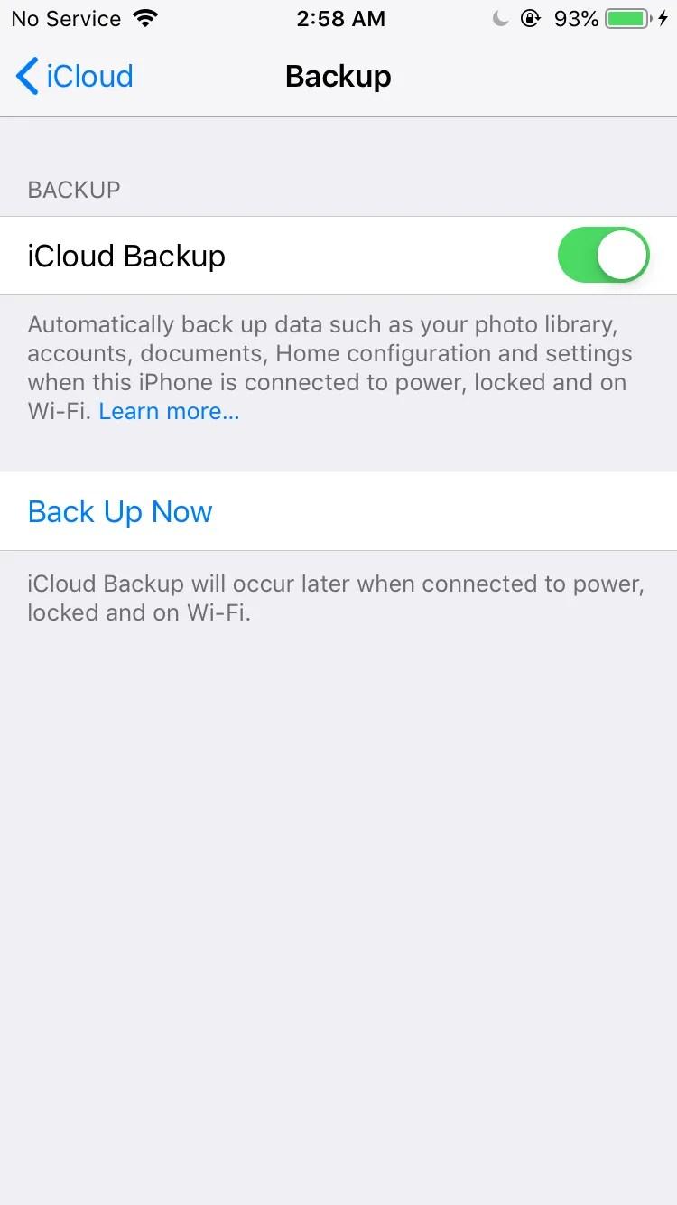 eseguire il backup di ipod su icloud