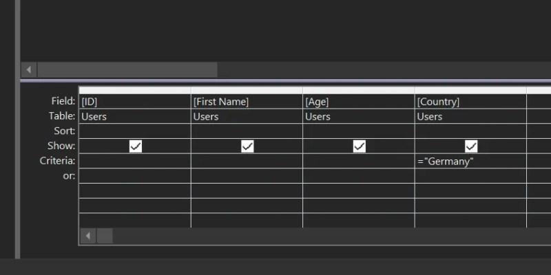 creare criteri di query della tabella