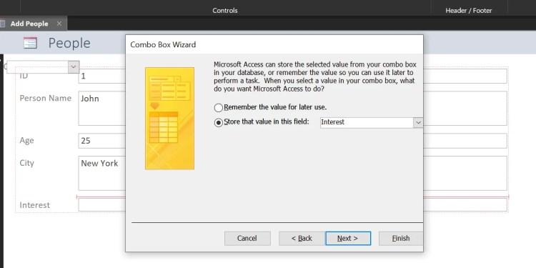 选择字段以存储组合框项目