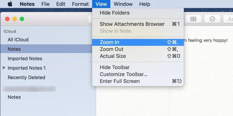 Macでアップルノートを拡大する