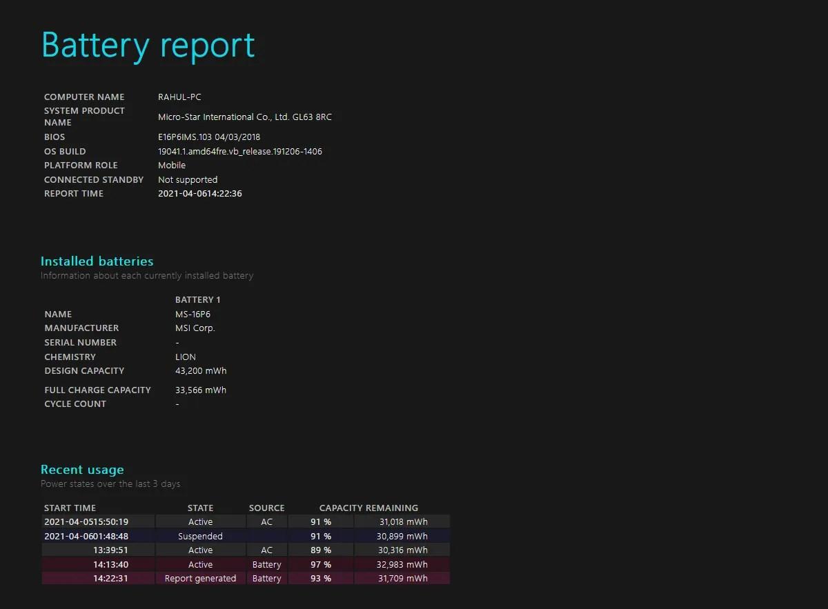 powercfg battery report analysis