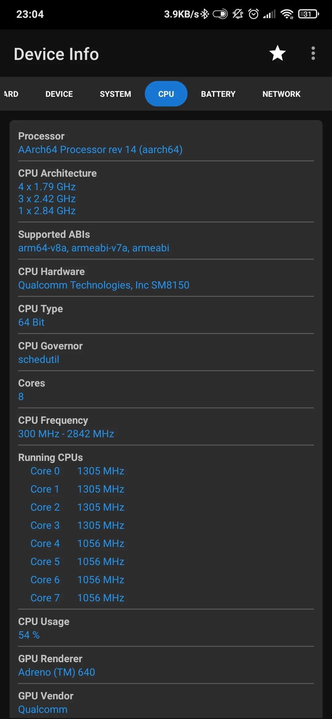 Android phone CPU specs by Device Info