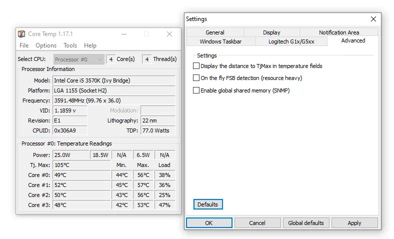 core temp windows 10 monitoring