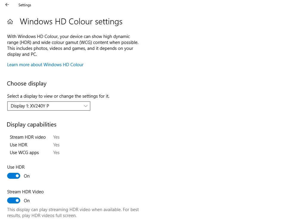 Enable HDR on Windows 10