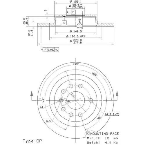 22-6586 Takajarrulevy Opel/Saab/Fiat ø278mm