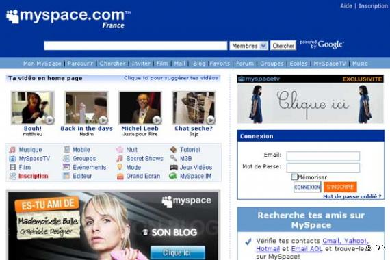 La page d'accueil de MySpace France