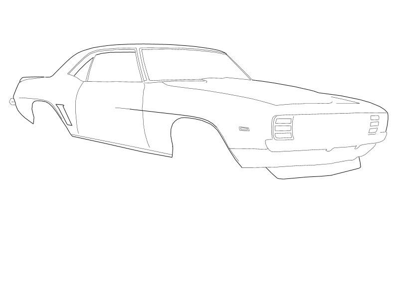 Black and white line drawings of muscle cars?