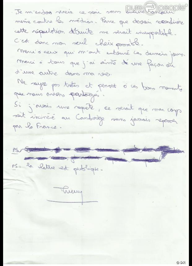 Thierry Costa, médecin du jeu Koh Lanta, avait laissé une lettre avant de se donner la mort le 1er avril 2013 - Verso